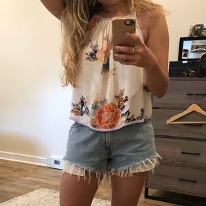 NWT free people floral crop top open back Xs